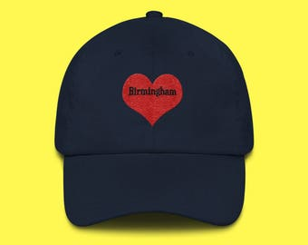 BIRMINGHAM Cap with the word Birmingham inside of an Embroidered Red Heart with FREE SHIPPING