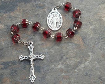Ten Virtues of Mary Chaplet in Siam Ruby Czech Glass Cathedral Beads, Mary Chaplet, 1 Decade Chaplet, Single Decade Rosary, Miraculous Medal