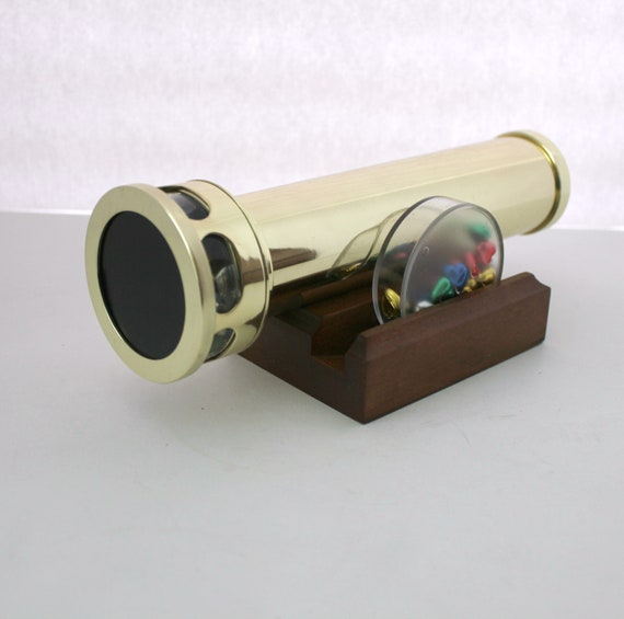 Vintage Brass Kaleidoscope with Interchangeable Wheels and Wood Stand, Oil Cell