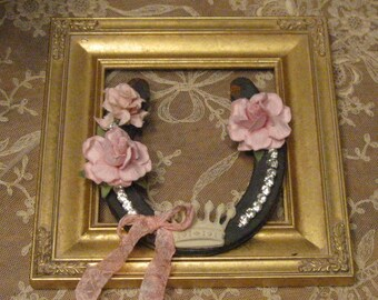 Farmhouse Horse Shoe - Farmhouse Decor - Pink Framed Horse Shoe - Shabby and Chic - Country Pink Horseshoe - Rustic Wall Art