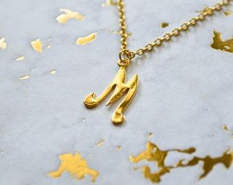 Jahrgang M - Monogramm Kette - Buchstabe M - Vintage Initial-Charme - Monogramm - erste Schmuck - Brief Halskette