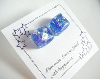 Blue resin stud earrings, blue cube resin earrings, blue cube surgical stainless earrings, gift for her, earrings under 10, cube earrings.