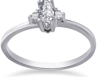 Marquise Diamond Engagement Ring 10k White Gold 1/3 Marquise Diamond Engagement Ring 10k White Gold