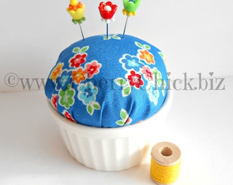 Pincushion - Arbor Blossom Fabric Pincushion - Gift for Quilters - Decorative Pins - PinKeep - Pin cushion - Sewing Pins - Cherry Chick