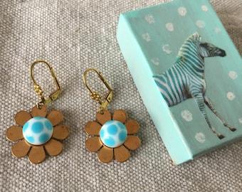 Aqua polka dot earrings - flower earrings - earrings in collaged gift box - aqua flower earrings - everyday earrings - everyday jewelry -