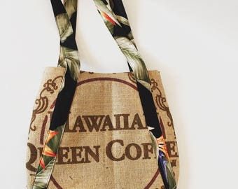 Coffee Sack Purse /Handbag / Burlap Bag/ Hawaiian Queen Coffee