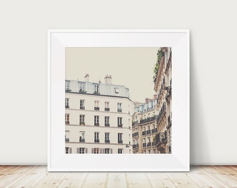 Paris photography, Paris apartment, Paris rooftops, Paris decor, neutral decor, European travel photography, fine art photography