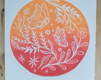 Butterflies and Flowers Original block print orange and red