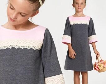 Girls Dress pattern PDF, Childrens sewing pattern pdf, Kids sewing pattern, stretch clothing sewing pattern, girls sewing pattern, CHARLOTTE
