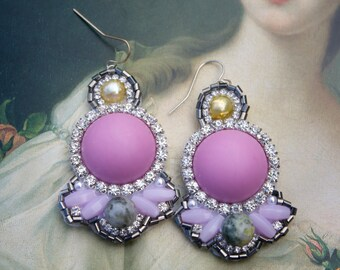 Pastel Lavender Statement Earrings; Lavender Resin Earrings; Marie Antoinette Earrings; Pastel Lavender Earrings; Baroque Earrings;