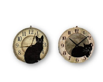 Set of 2 Cats on a Clock Round Wood Fan / Light Pull