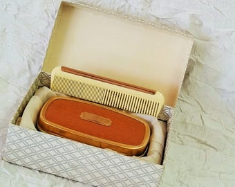 Vintage Mens Grooming Kit, Boxed Brush & Comb, Brown Leather, Monogrammable