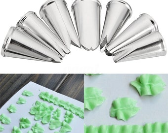 7PCS Leaf Tips - Stainless Steel Leaf Icing Piping Nozzles Pastry Cake Decor Tips Tools - Leaf Icing Piping Nozzles - Leaf Piping Tips