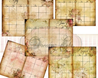 """Digital Planner Kit """"Vintage Love Story"""" Kit - Paper Pack 2 (Months May - Sept), Great for Scrapbooking, Journals, and Mixed Media Projects"""