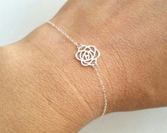Tiny Sterling Silver Rose Bracelet, Birthday, Bridesmaid Gifts, Mother's Jewelry, Family, Personalized jewelry