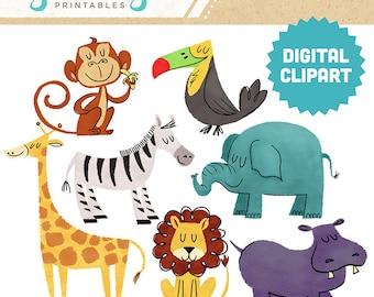 SAFARI ANIMALS Digital Clipart Instant Download Animals Zoo Giraffe Hippo Lion Zebra Monkey Toucan Wildlife Illustration Cartoon Clip Art