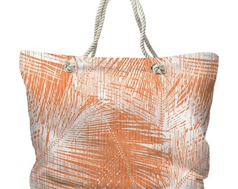 Boca Chica Palm Breeze Tote Bag, Orange Palm Tote Bag, Tropical Tote Bag, Island Carryall, Palm Leaf Beach Bag, Palm Tote