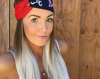 Atlanta Braves Vintage Style Turban Headband || Hair Band Baseball Accessory Cotton Workout Yoga Fashion Red Navy Blue White Head Scarf Girl