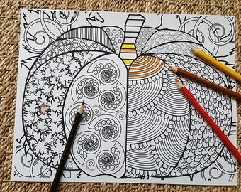 Adult Coloring Page - Abstract Pumpkin