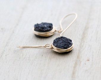 Black Druzy Dangle Earrings , Drop Gemstone Bezel Wrapped Earrings , Gold , Rose Gold , Sterling Silver , Modern Wire Wrapped Jewelry