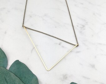 Large Asymmetrical Triangle • Necklace Brass, Sterling Silver, or 14k Gold Filled • Geometric • Modern • Minimalist