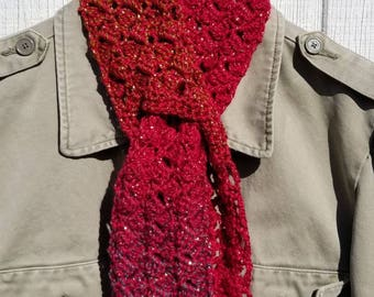 Feminine Crocheted Holiday Scarf - Sparkling Sidesaddle Keyhole Scarflet in Flaming Rose