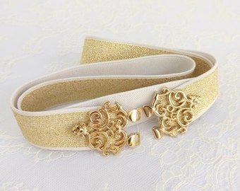 Gold elastic waist belt with gold filigree buckle. Bridal/ Bridesmaid gold glitter elastic waist belt.