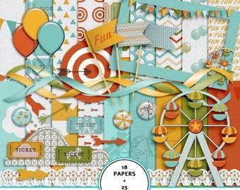 Digital scrapbook Theme park kit, Amusement park scrapbook kit, festival digital paper, carnival scrapbook kit, printable 12x12 paper
