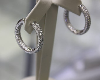 Italian Diamonds earrings ( hoops ) 18 k White gold / 4,35 ct Diamonds ladies, 18.5 gr.
