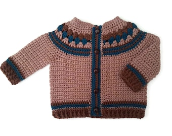 Pure merino wool baby sweater, baby boy cardigan jacket, classic Fair Isle baby jumper, English British baby, baby shower gift. 0-3-6 months