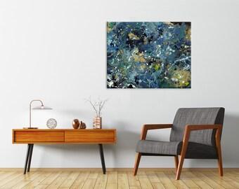 "Fluid Art | Paint Splatters | Blue | Abstract Acrylic Painting | Modern Art | 16x20"""