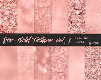 Rose gold digital paper, rose gold bokeh, foil, glitter, rose gold branding, luxury textures, rose background, download