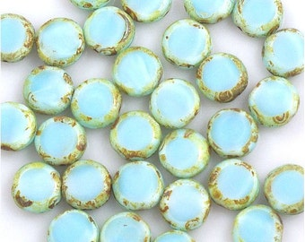 Satiny Light Blue Picasso Window Czech Glass Coin Beads 11mm Dye Lot #1 - 15
