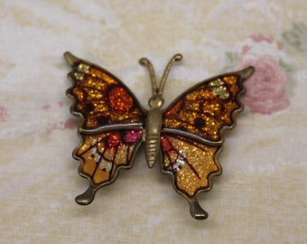 Vintage Glittery Fall Colors Butterfly Pin