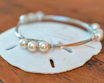 Silver wire wrapped Bangle // White Pearls