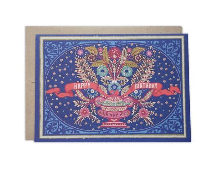 Scandinavian Folk Art Design 5 x 7 Happy Birthday Greeting Card
