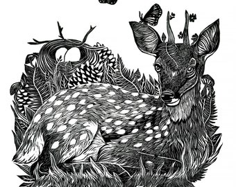 Prince of the Forest - Fawn Linocut Print Deer Nature Forest