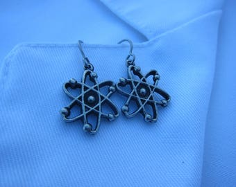Atom Earrings - LT601- Science Jewelry for Scientists and Science Teachers- Nerd and Geek Earrings