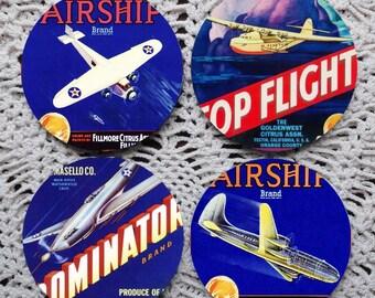 Wild Blue Yonder -- Vintage Airplane Fruit Crate Label Mousepad Coaster Set