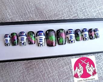 Star Wars R2D2 Galaxy space Disney Inspired False Nails   Little Nail Designs
