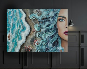 Mermaid - Limited Edition Prints - Painting by Dakota Daetwiler