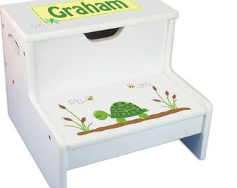 Custom step stool etsy personalized turtle baby gift step stool for children two steps customized with turtles kids gift potty negle Gallery