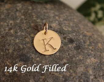 """Gold Filled initial charm, add on charm, personalized hand stamped initial charm - 1/2"""" (12.7mm)"""