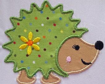 Hedgehog Patch, Hedgehog Applique, Embroidered Hedgehog, Iron On Patch, Applique Patch, Embroidered Patch,  Sewn On Patch, Hedgehog Girl