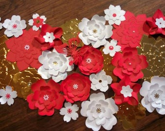 Assortment of paper flowers, color choices