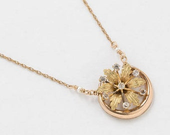 Victorian Necklace, Cresent Moon Necklace with Flower in Rose Gold & Yellow Gold Filled, Genuine Pearl, Crystal Stones, Antique Jewelry Gift