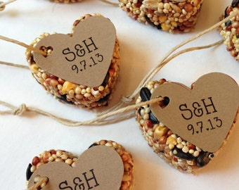 100 Bird Seed Heart Shaped Favor MINI- Wedding and Events - Personalized bird seed favor - weddings - parties