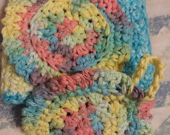 Large washcloth and face scrubbie set, crochet washcloth set, reusable face scrubbies, makeup remover pad,cotton face scrubbies washcloth,