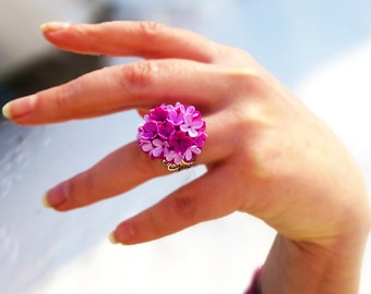 Magenta ring Cute ring Flower ring Lilac ring Unusual ring Unique jewelry Colorful ring Clay jewelry Gift for women