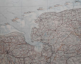 1907 Map of the Frisian Islands, North of Germany in the North Sea. Shows Archipelago from Borkum to Wangerooge. Genuine 111 Year Old Map.